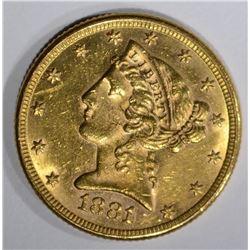 1881/0 $5.00 GOLD, AU++ KEY DATE