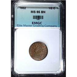 1832 HALF CENT, EMGC GEM BU BN