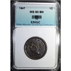 1847 LARGE CENT, EMGC CH BU BN