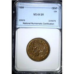 1854 LARGE CENT, NNC CH/GEM BU BN
