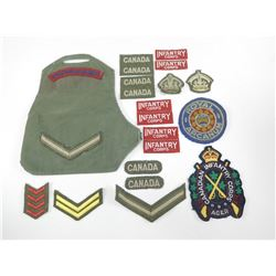 ASSORTED FABRIC BADGES & SERVICE STRIPES