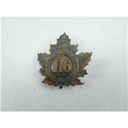 116 BATTALION CANADA OVERSEAS CAP BADGE