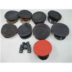 ASSORTED HATS & BINOCULARS