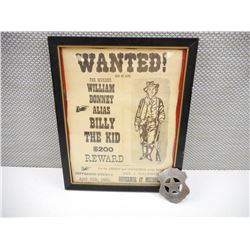 WANTED POSTED AND MARSHAL BADGE