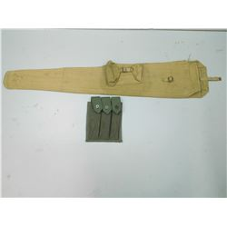 BRITISH WWII MILITARY RIFLE CASE & MAG HOLSTER