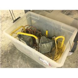 BOX OF ASSORTED EXTENSION CABLES AND WORK LIGHTS