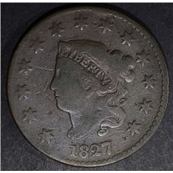 1827 LARGE CENT, N-D VG has a few scratches SCARCE