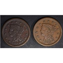 2-1853 LARGE CENTS: 1-VF & 1-VF/XF