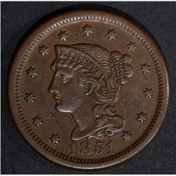 1851 LARGE CENT, AU hit on obv by chin