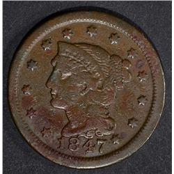 1847/7 LARGE CENT, FINE+