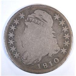 1810 CAPPED BUST HALF DOLLAR, VG/FINE
