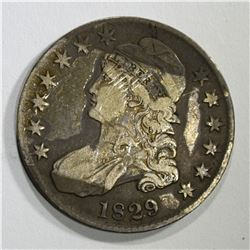 1829 BUST HALF DOLLAR, VF/XF residue on obv