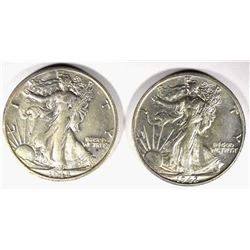 2 - 1942-S WALKING LIBERTY HALF DOLLARS