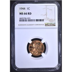 1944 LINCOLN CENT, NGC MS-66 RED
