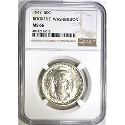 1947 B.T. WASHINGTON HALF DOLLAR, NGC MS-66