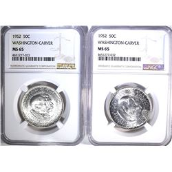 2-1952 WASH-CARVER HALF DOLLARS, NGC MS-65