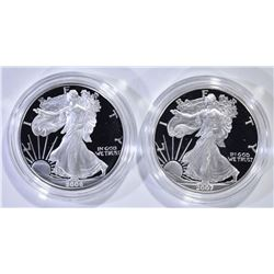 2006 & 07 PROOF SILVER EAGLES IN BOXES/COA