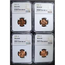 4 -NGC MS66RD LINCOLN CENTS: 2-1973,