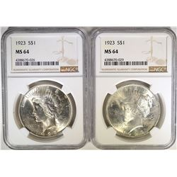 2- 1923 PEACE SILVER DOLLARS NGC MS64