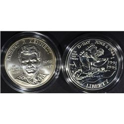 1995-D WWII & 1998-S KENNEDY UNC.