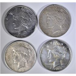 4-DIFFERENT CIRC PEACE SILVER DOLLARS