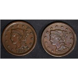 1853 & 1855 VF/XF LARGE CENTS