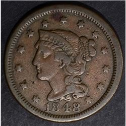 1848 LARGE CENT, VF/XF
