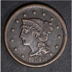 1848 LARGE CENT, N-15 AU dark SCARCE VARIETY