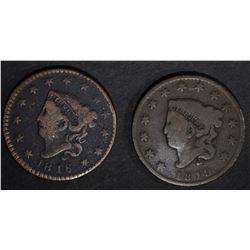 1816 FINE dark & 1819 VG LARGE CENTS
