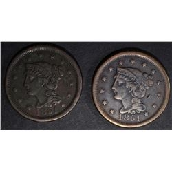 2-VF 1851 LARGE CENTS