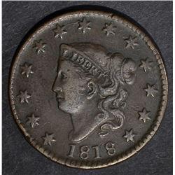 1818 LARGE CENT, VF+