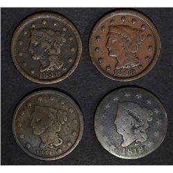 1818 G, 41 VG, 48 F & 48 VF LARGE CENTS