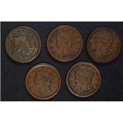 4-1848 & 1 1856 F/VF LARGE CENTS