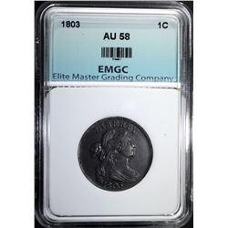 1803 LARGE CENT, EMGC AU/BU