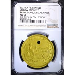 1933 CA HK-687 YELLOW ANODIZED, NGC MS-67