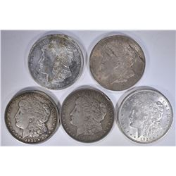 (5) 1921 MORGAN DOLLARS, CIRC OR BETTER