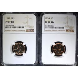2-1955 LINCOLN CENTS, NGC PF-67 RD
