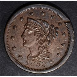 1853 LARGE CENT, XF PLANCHET FLAW
