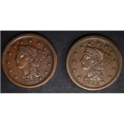 1853 & 1854 VF/XF LARGE CENTS