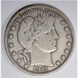 1911 BARBER HALF DOLLAR, VF has mark