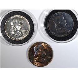 3 FRANKLIN HALF DOLLARS:  1953-D BU,