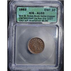 1863 CIVIL WAR TOKEN 1C ICG AU55