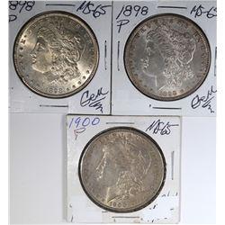 3 MORGAN DOLLARS: 1898 CH BU,