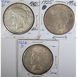 3 PEACE DOLLARS: 1925 CH BU,