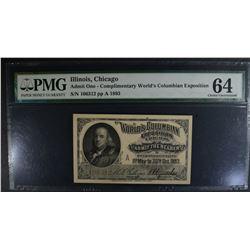 1893 WORLD'S FAIR TICKET PMG 64