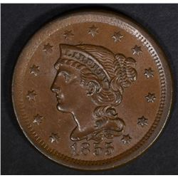1855 BRAIDED HAIR LARGE CENT SLANTED 5