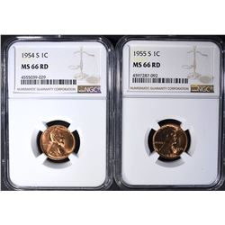 1954-S & 1955-S LINCOLN CENTS NGC