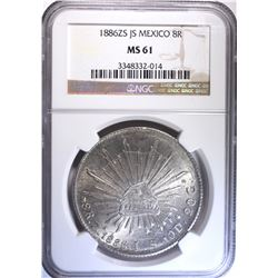 1886 ZS JS MEXICO 8 REALES, NGC MS-61