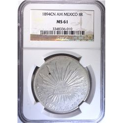 1894 CN AM MEXICO 8 REALES, NGC MS-61
