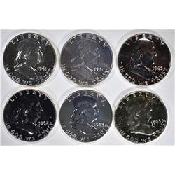 2-1961, 2-62 & 2-63 PROOF FRANKLIN HALF DOLLARS